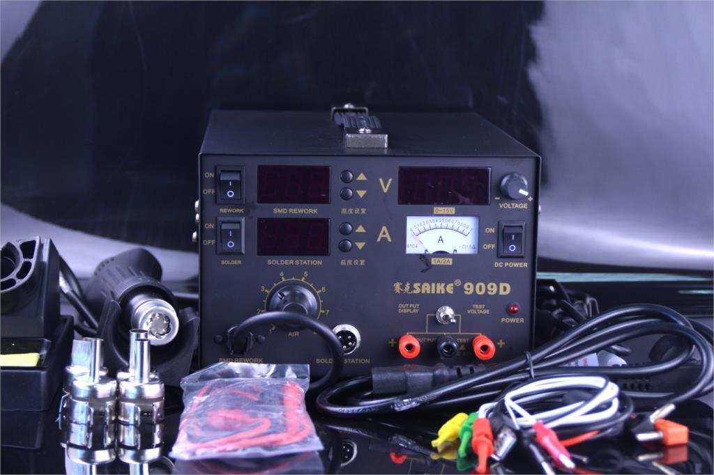 Free shipping 3 in 1 Hot air gun rework station SAIKE 909D Soldering station power supply soldering machine 220V or 110V|Soldering Stations| |  - title=