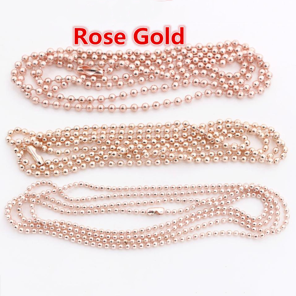 5pcs/lot 3 Size 1.5mm And 2.0mm And 2.4mm Rose Gold Color Ball Beads Chain Necklace Bead Connector 65cm(25.5 Inch)