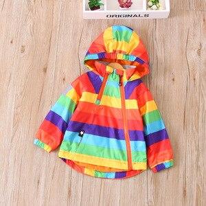 Image 5 - צבעוני פסים חם צמר תינוק בנות בני מעילי אופנה ילד מעיל Windproof ילדי הלבשה עליונה ילדי תלבושות עבור 90 140cm