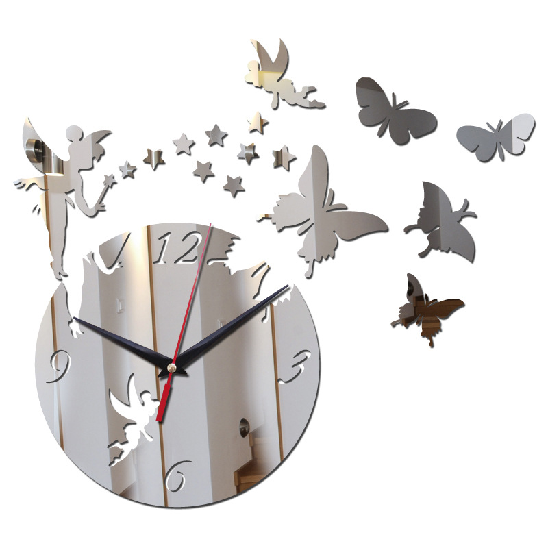 New 3D Mirror Effect Wall Clock Fairy Butterfly Home Decoration Clock For Living Room Kids Bedroom Modern Design Silent Watch
