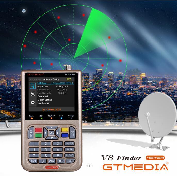 Freesat GTmedia Satellite Finder Meter V8 Finder HD DVB-S2 SatFinder 3.5 Inch Color With 3000mA Battery V8 Finder FTA Sat Finder