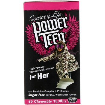 Source of Life,Power Teen,Young women,Children's Compound vitamin,Sugar Free,Natural Wild Berry Flavor,60 pieces