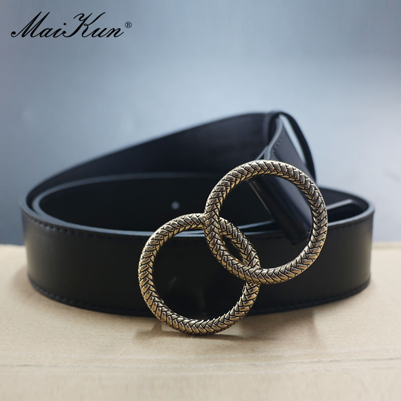 Maikun Belts For Women Fashion Pattern Double Ring Buckle Female Belt Leather Waistband For Jeans Dresses Pants