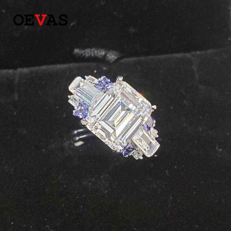 OEVAS 100% 925 bagues de mariage en argent Sterling pour les femmes étincelant 8*10mm haute teneur en carbone diamant fête de fiançailles beaux bijoux cadeaux