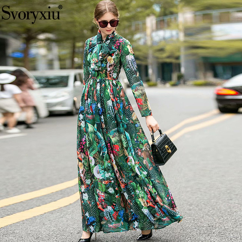 Svoryxiu 2020 New Spring Summer Runway Cartoon Animal World Maxi Dress Women's Long Sleeve Bohemia Chiffon Holiday Long Dresses