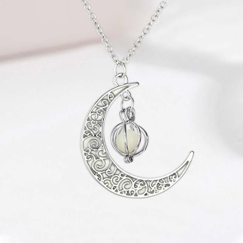 Moon Glowing Necklace Pendant Fashion Hollow Luminous Stone Gem Charm Jewelry Necklace Happy Birthday Creative Dreamy Gifts
