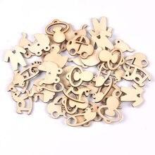 50 pçs mix bebê padrão de madeira natural chip scrapbooking carft para decoração de casa diy 21-30mm mt2232