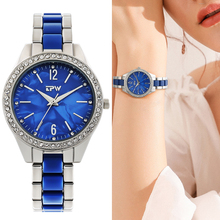 Women Fashion Blue Quartz Watch Mesh Strap Dress Rhinestone Wristwatch Ladies Gift Waterproof Starry Watches 2019