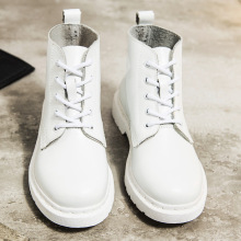 Shoes Woman Motorcycle-Boots Punk Female White Autumn Winter Genuine-Leather Ankle