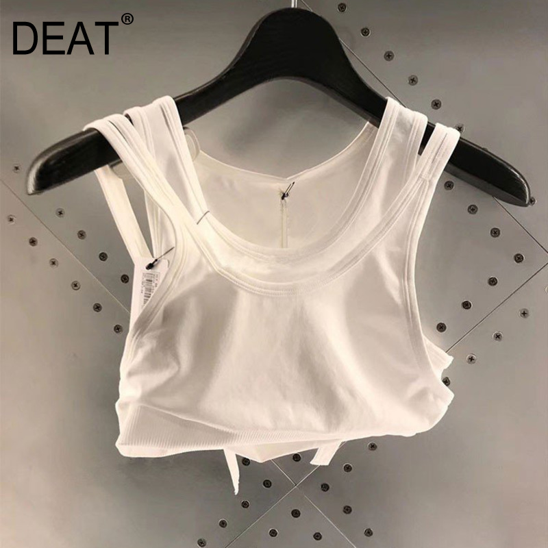 DEAT 2020 New Summer Fashion Women Clothing Round Neck Sleeveless High Quality Waist T-shirt Female Crop Tank WL2600L