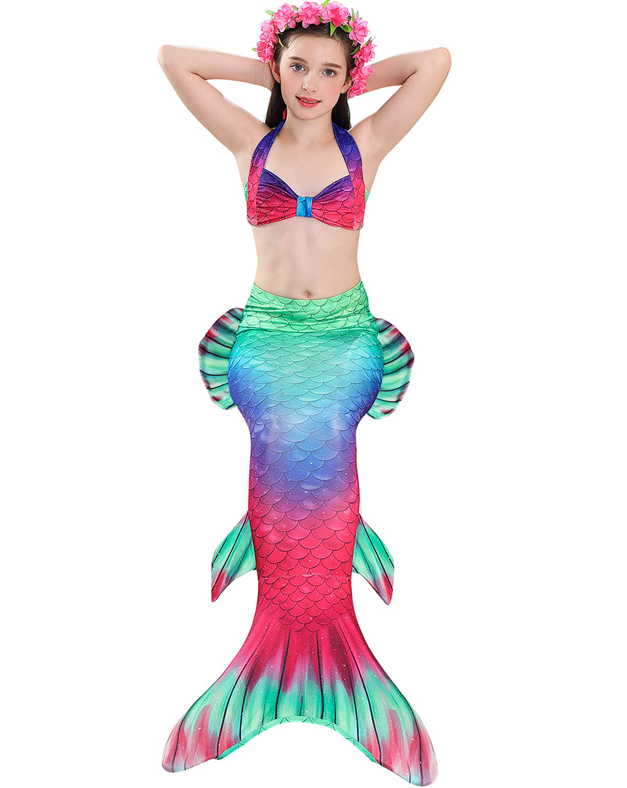 Hbcb1087653e441feae10c15886ee65dbO - Kids Swimmable Mermaid Tail for Girls Swimming Bating Suit Mermaid Costume Swimsuit can add Monofin Fin Goggle with Garland