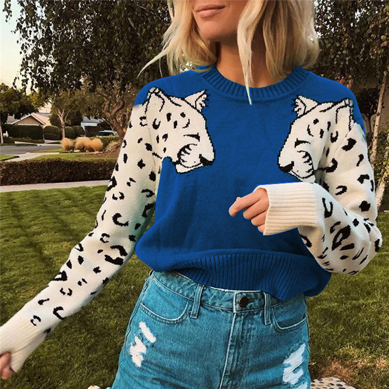 Ladies Leopard Printed Sweater Fashion Women Animal Print Patchwork O-Neck Long Sleeve Pullover Loose Sweaters Tops Blouse