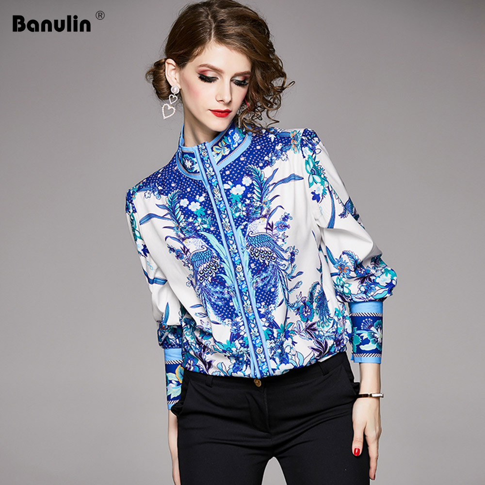 Banulin Women Tops And Blouses Lantern Sleeve Floral Print Ladies Shirts Blue White Fashion Women Blouses Runway Shirt Tops