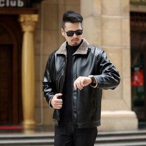 Image 3 - 2020 סתיו וחורף חדש פרווה אחד גברים של עור מפוצל בגדים בתוספת קטיפה עיבוי נוער מזדמן עור מעיל מעיל זכר