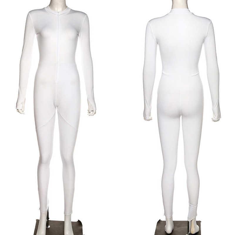 Frauen Stretch Dünne OVERALL Fitness Sportswear Trainingsanzug Bodybuilding Weibliche Strampler Workout Active Leggings Jogger Weiß