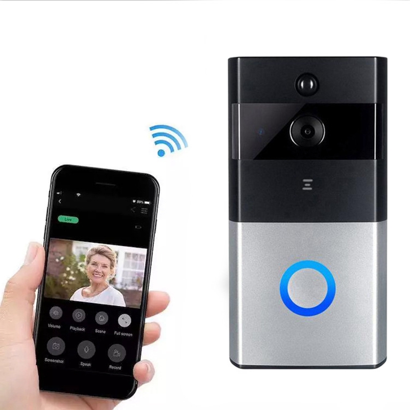 ABHU-Video Doorbell Smart Wireless WiFi Security Door Bell Visual Recording Home Monitor Night Vision Intercom Door Phone
