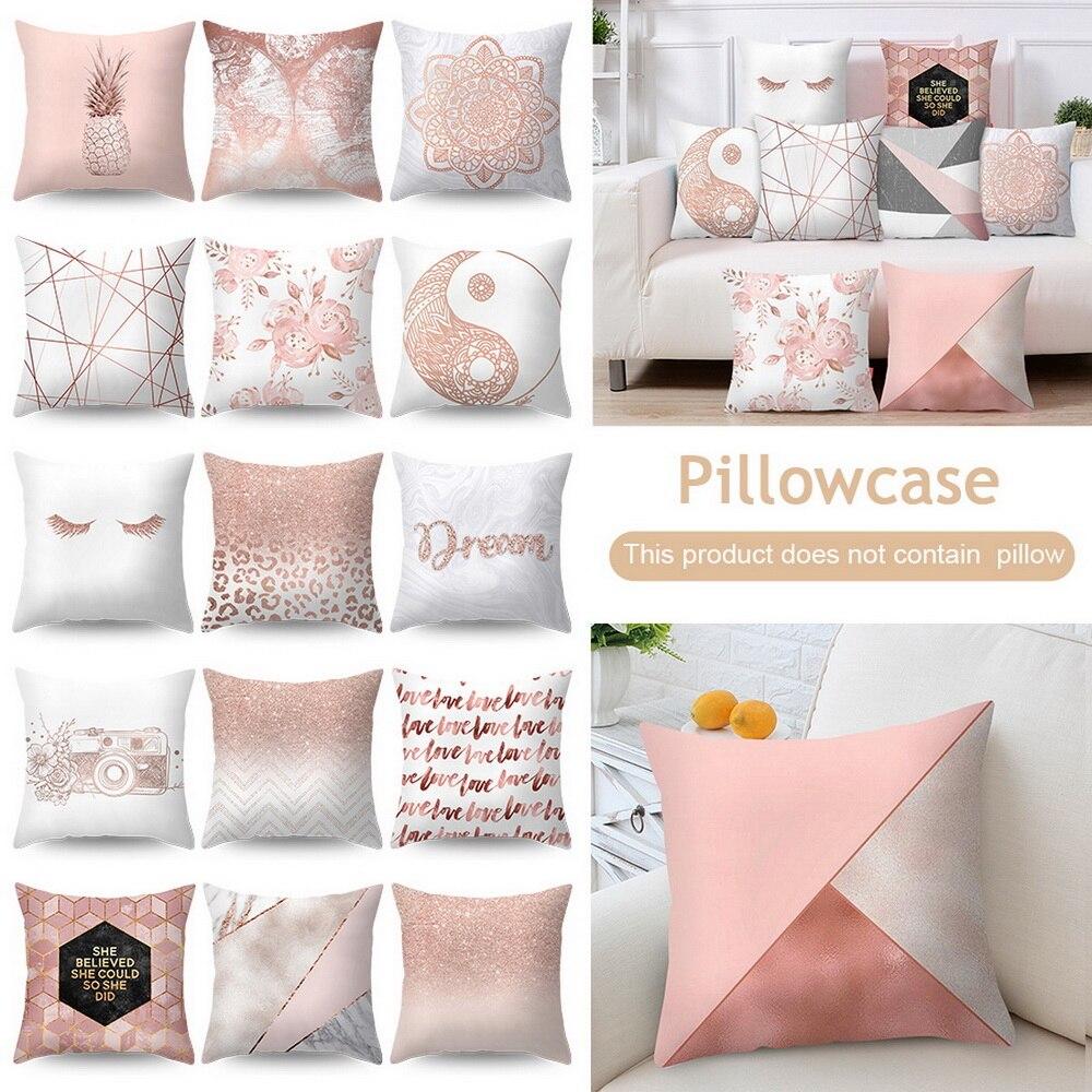 >ZENGIA Polyester Pillow Case Rose Gold Geometric Pineapple Glitter <font><b>Cushion</b></font> <font><b>Cover</b></font> One Side Printed 45x45cm <font><b>decorative</b></font> pillows