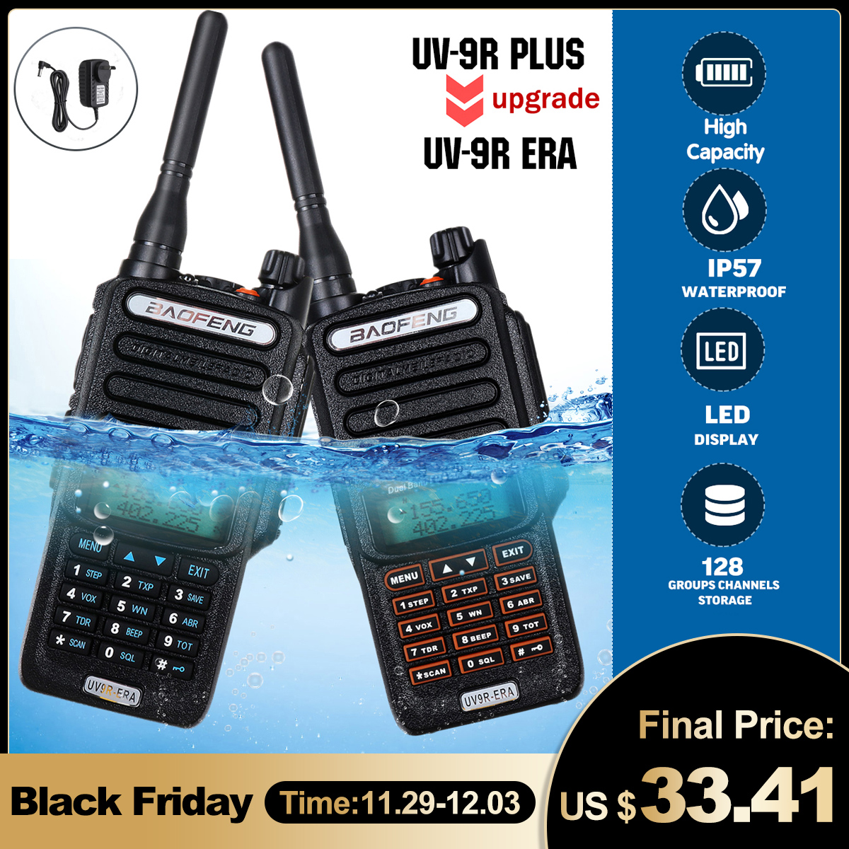 Baofeng UV9R-ERA Walkie Talkie Professional Radio Station Transceiver VHF UHF Portable Radio 15km Talk-Range 4800mah