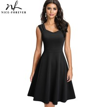 Nice-forever 2021 New Summer Solid Color Retro Sun Dresses Party Flare Swing Women Dress A246