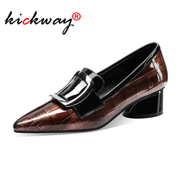 Genuine Leather Pumps Women Pointed Toe Footwear Shallow Office Shoes Female Fashion Chunky Heels 2 Inch Woman Autumn 2020
