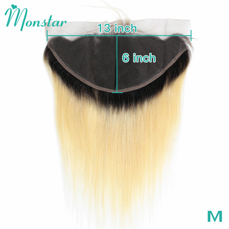 Monstar 13x6 Ear to Ear 1B 613 Blonde Ombre Frontal Closure Peruvian Straight Remy Human Hair 8 - 24 inch Frontal with Baby Hair(China)