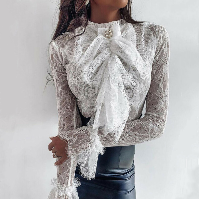 Women See-through Lace Blouse Long Sleeve Chiffon Shirt 2020 Casual Loose Bowknot OL Tops Shirt Hollow Out Blouses Shirts Tops
