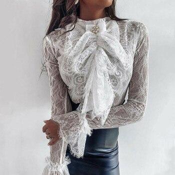 Women See-through Lace Blouse Long Sleeve Chiffon Shirt 2020 Casual Loose Bowknot OL Tops Shirt Hollow Out Blouses Shirts Tops lace hollow bowknot blouse