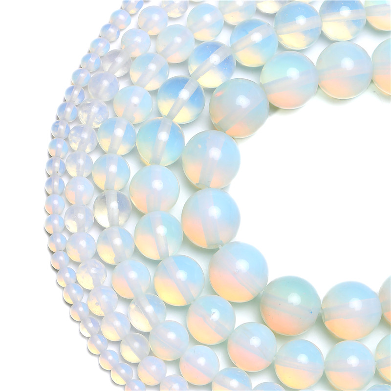Wholesale Natural Stone Smooth White Opalite Quartz Loose Beads 15