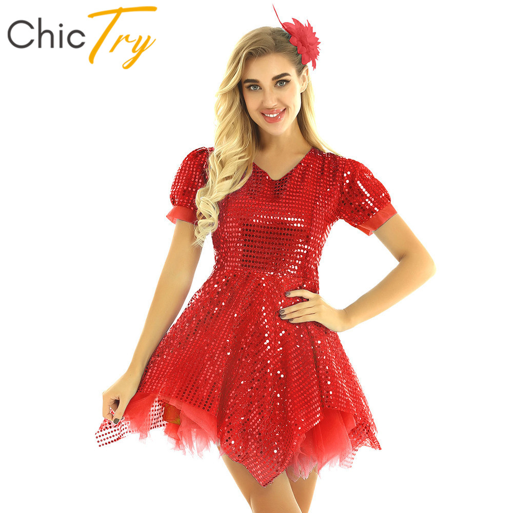 ChicTry Women Shiny Sequins Mesh Tulle Latin Dance Dress With Flower Hairclip Set Modern Ballet Jazz Stage Performance Costume