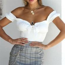 Off Shoulder Women Crop Top T Shirts Summer Ladies Short Sleeve Ruffle Bow Knot