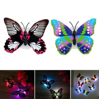 2Pcs Color Changing Butterfly LED Night Light Wall Lamp Bedroom Kids Room Decor Christmas Ornament navidad christmas decoration image