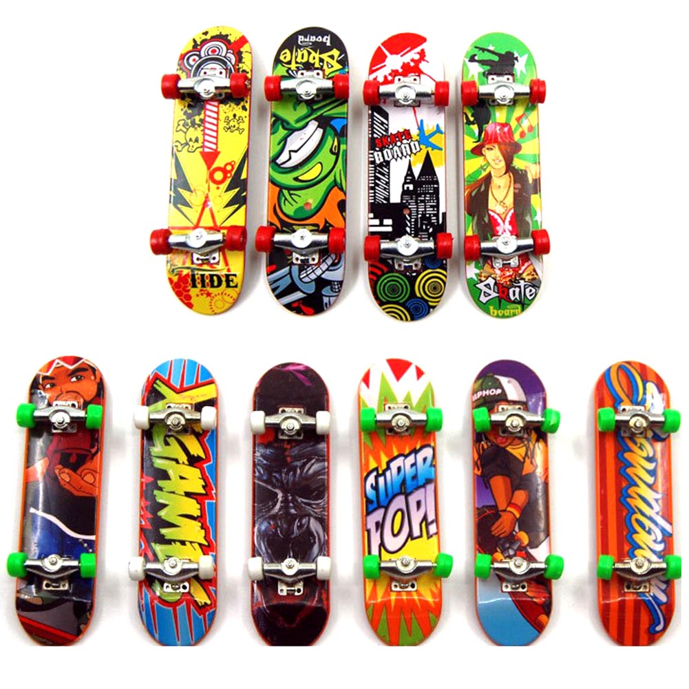 Random 6 Pcs Different Colors Child Toys Mini Anti-stress Fingerboard Skate Boarding Toys Gift Fingertip Toy Skate Hot Selling
