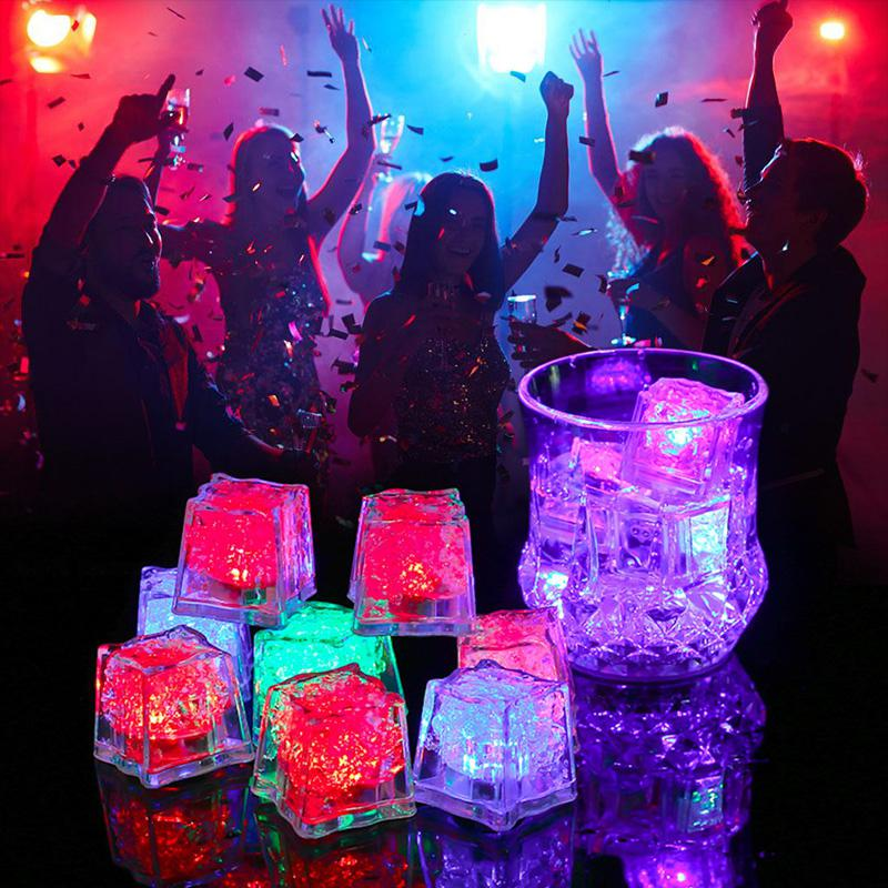 LED Ice Cubes Shape Glowing In Water Light Party Ball Luminous Flash Light Wedding Festival Bar Wine Glass Decoration 12PCS