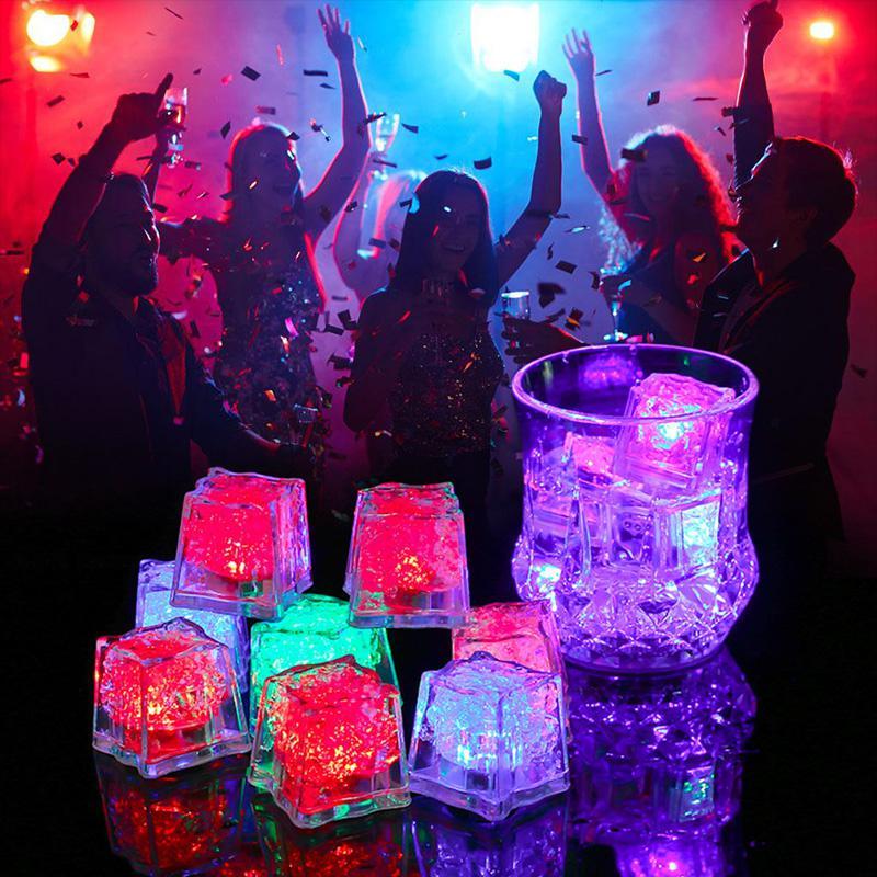Studyset Ice Cubes Shape Glowing In Water Light Party Ball Luminous Flash Light Wedding Festival Bar Wine Glass Decoration 12PCS