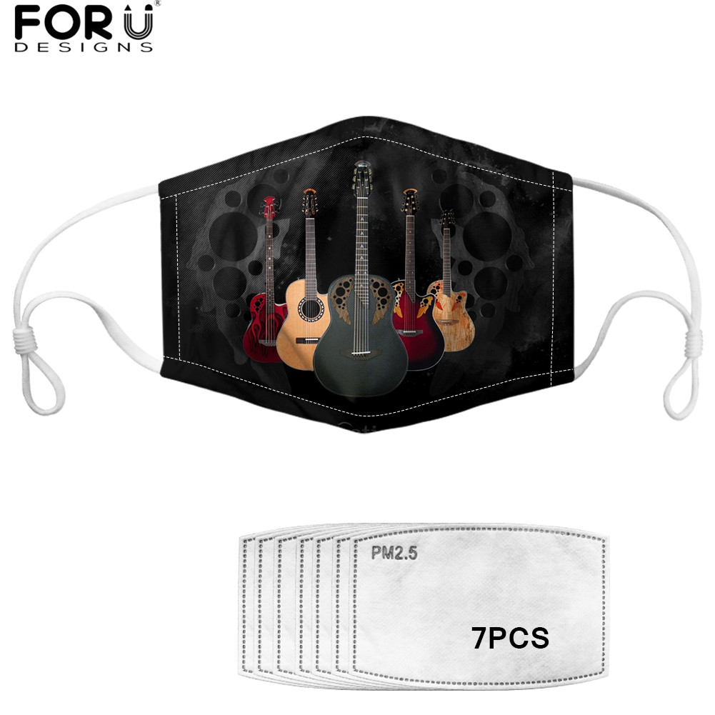 FORUDESIGNS 3D Guitar Pattern Unisex 2 Filters Outdoor Mascarilla Music Print Soft Anti Dusproof Germ Half Mouth Cover Maske