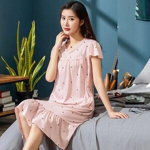 Image 4 - 2019 sommer Kleine Blumen Nacht Kleid Frauen Nachthemd Plus Größe 3XL Sleep Kurze ärmel Nachthemd Nachthemd Baumwolle Nachtwäsche