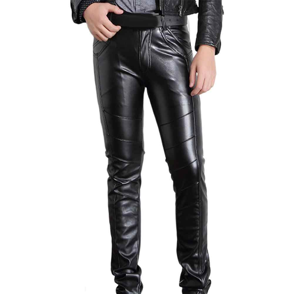 Pantalones De Cuero Para Hombre Pantalon De Estilo Rockero De Color Solido A La Moda Elasticos De Cuero Sintetico Para Motociclismo Pantalones Informales Aliexpress