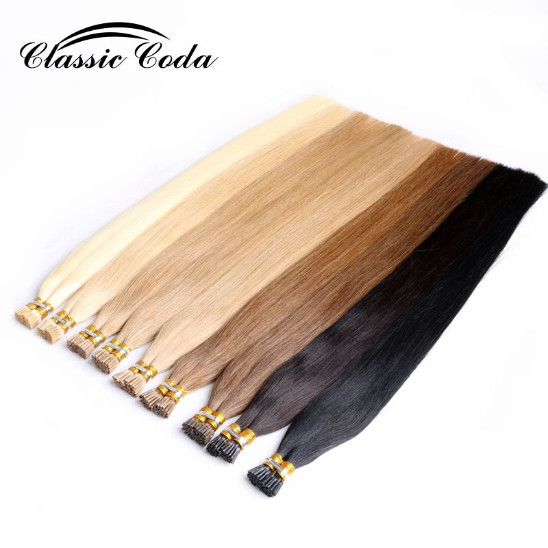 "Classic Coda 1g/s 20"" Full Cuticle Remy Human Hair Extensions Pre Bonded Keratin I Tip Hair 50g/pack"