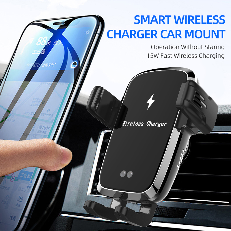 15W Car Phone Holder Mobile for Car Holder Phone Stand Steady Fixed Bracket Support Infrared sensing Auto Grip Wireless charging