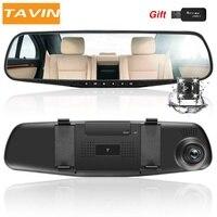TAVIN Car DVR Dual Lens Dash Cam Camera Full HD 1080P 4.3 Inch Video Recorder Rearview Mirror With Rear View Auto Registrator