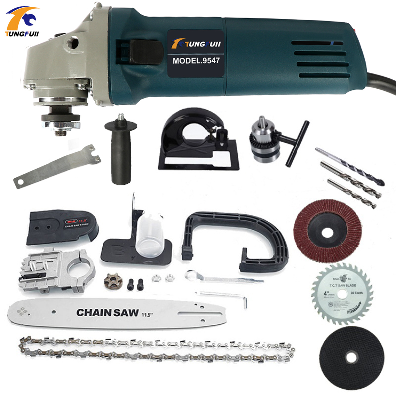 Adjustable Electric Change Angle Grinder + Chainsaw Woodworking Cutting Chainsaw Bracket 1000W 220V 11000rpm 6 Speed image