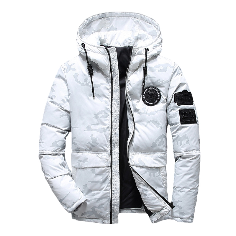 2019 New Men Winter Feather Jacket Men Coat Hooded Camouflage Parka Jackets White Mens Thick Jacket Ultralight Down Jacket Man