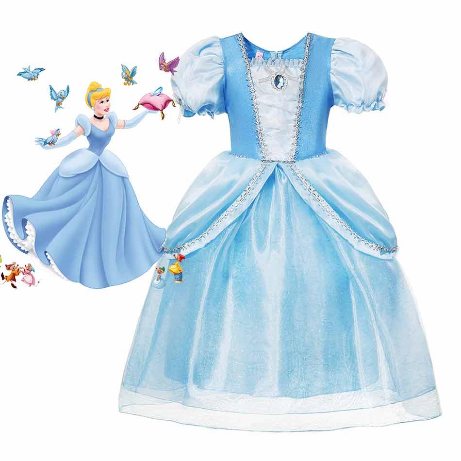 Disfraz de Disney de cuento de hadas para niñas, zapatilla de cristal pequeña, vestido de princesa de Cenicienta de lujo, vestido de baile azul para fiesta de boda