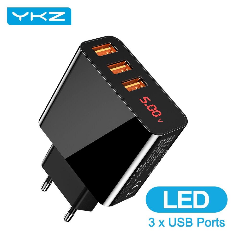 Зарядное устройство YKZ с 3 USB-портами и светодиодным дисплеем, макс. 3,0 А