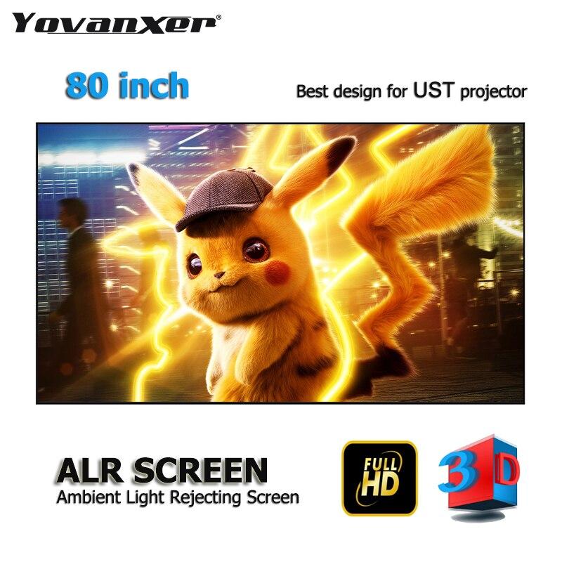Top class Luce Ambiente Rifiutare ALR Schermi di Proiezione 80 Ultra-sottile bordo Telaio Specializzati per Optoma Xiaomi UST proiettori