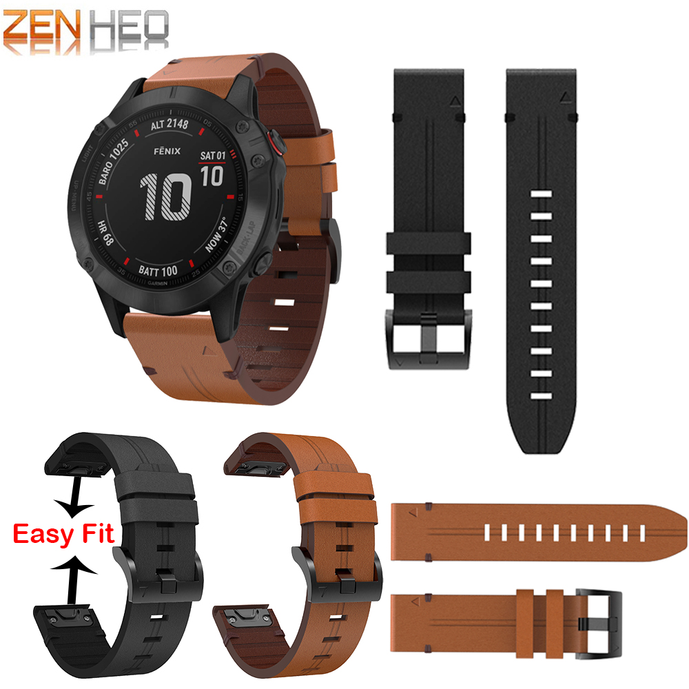 For Garmin Fenix 6 Pro/Sapphire 5 6 5X 6X 3/3HR 5Plus Wristband Quick Fit 26mm 22mm Leather Watch Band For Forerunner 935/945