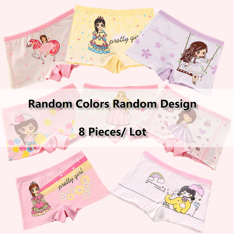 Random 8 Pcs/Lot Girls Panties Mashup Pattern And Colors Kids Underwear Cotton Children Pants Breathable Boxers Child Underpants