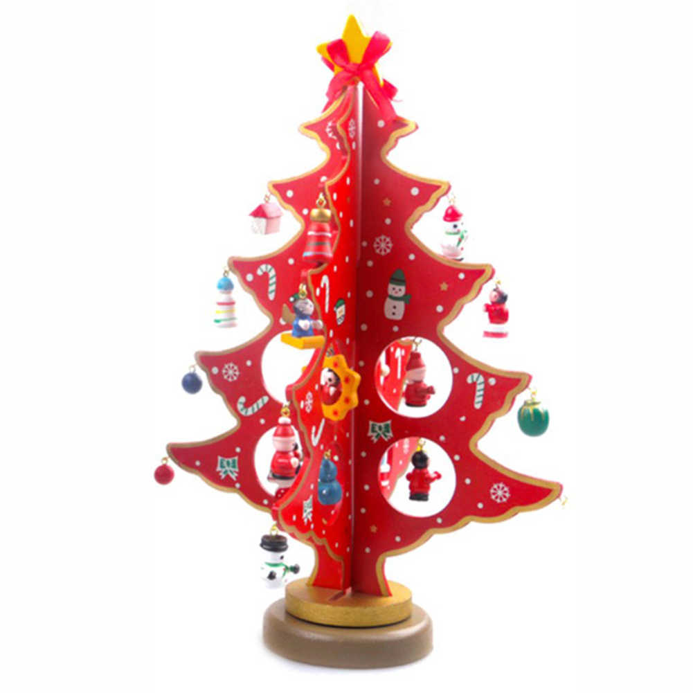 Desktop Artificial Wooden Christmas Tree Toys with Mini Pendant Accessories Xmas Party New Year Gifts Decoration Sep19