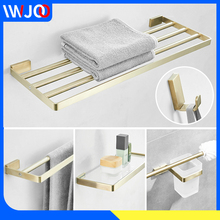 Stainless Steel Towel Bar Sets Brushed Gold Towel Holder Towel Rack Bathroom Shelf Glass Shampoo Basket Wall Mount Paper Holder все цены
