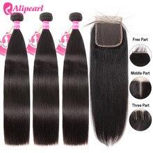 AliPearl Hair 100% Human Hair Bundles With 4x4 Lace Closure Brazilian Straight Hair Weave 3 Bundles Ali Pearl Hair Extension